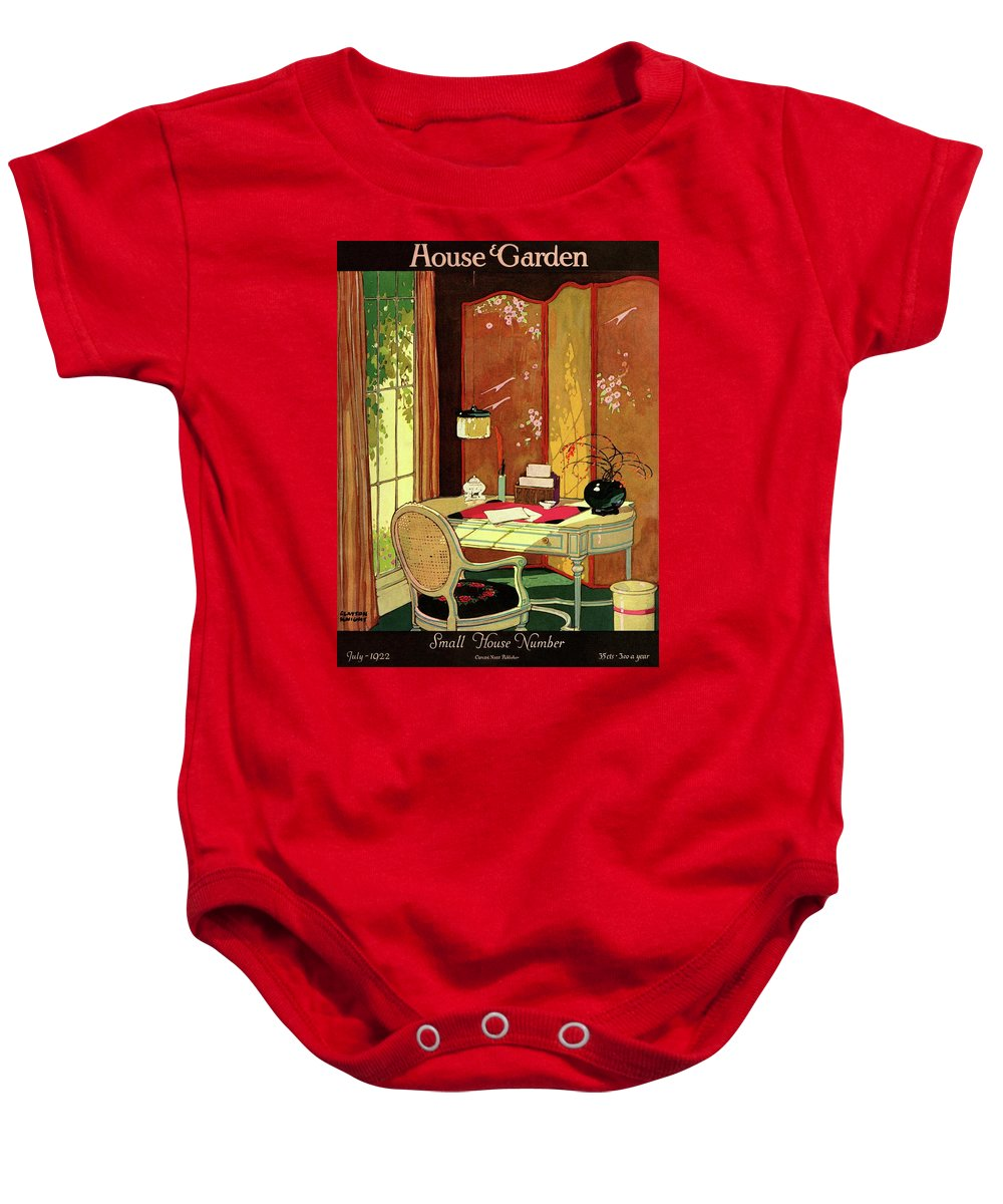 House And Garden Baby Onesie featuring the photograph House And Garden Small House Number by Clayton Knight