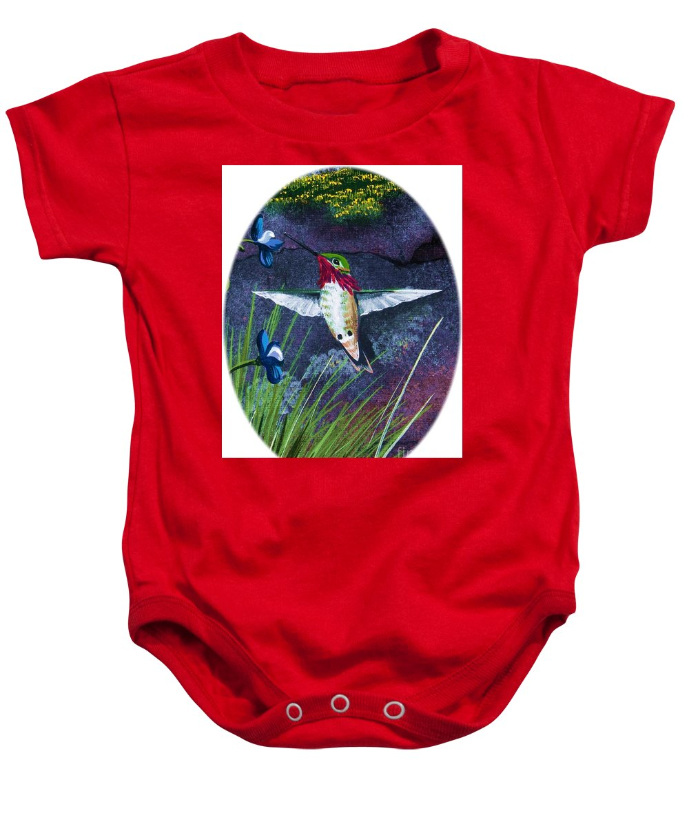 Hummimgbird Baby Onesie featuring the painting Hummingbird Two by Jennifer Lake