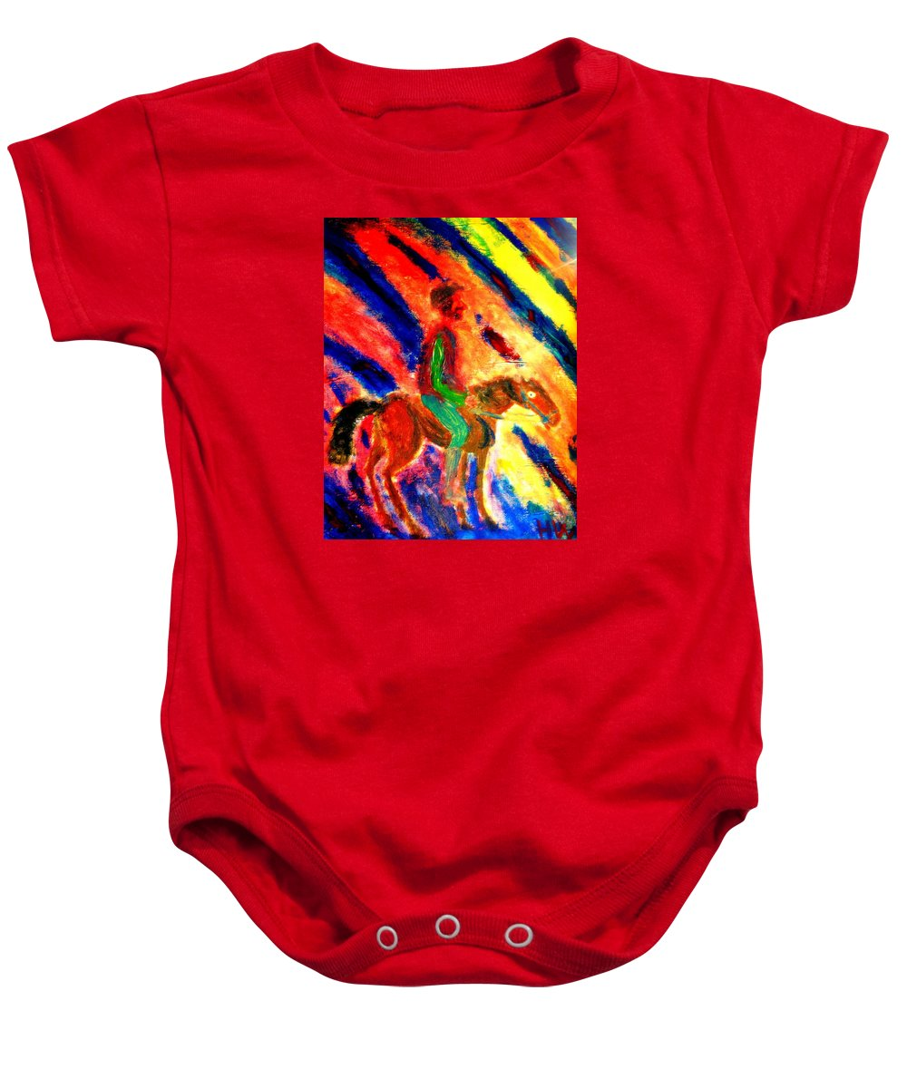 Horse Baby Onesie featuring the painting I Love You Because You Seem To Notice Me  by Hilde Widerberg