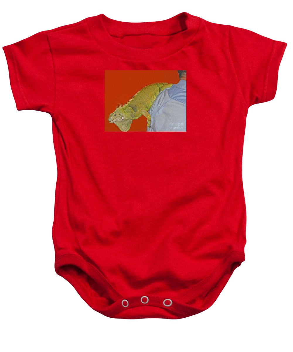 Iguana Baby Onesie featuring the photograph Iguana By The Tail by Ann Horn