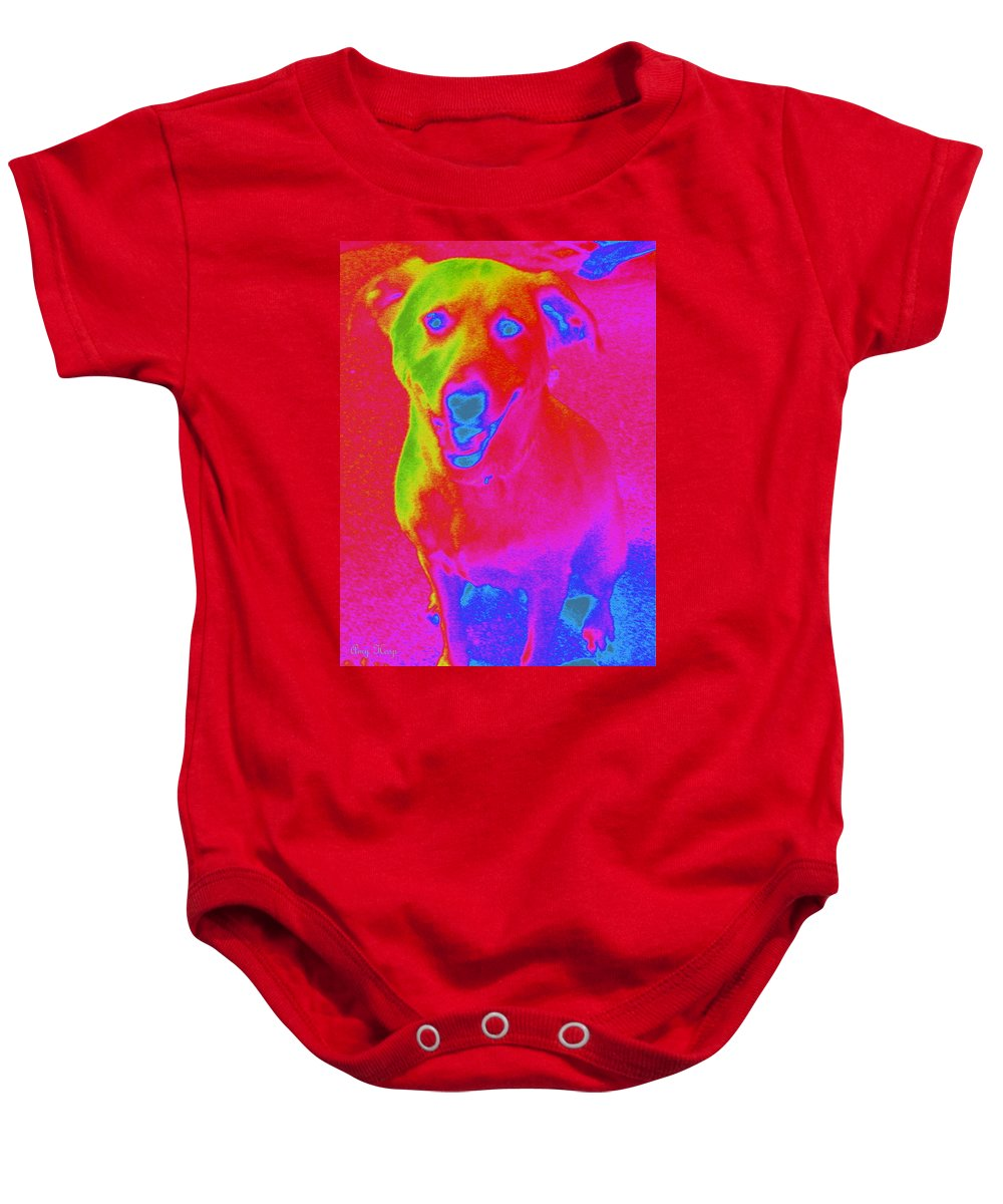 Neon Art Baby Onesie featuring the photograph Imaginary Liberty The Dog by Amy Hosp