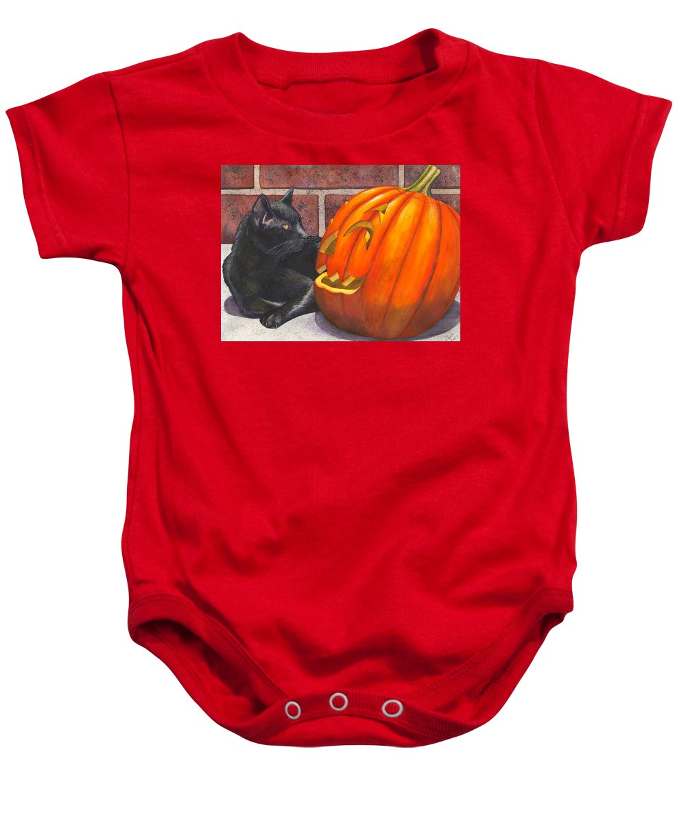 Cat Baby Onesie featuring the painting Inside Joke by Catherine G McElroy