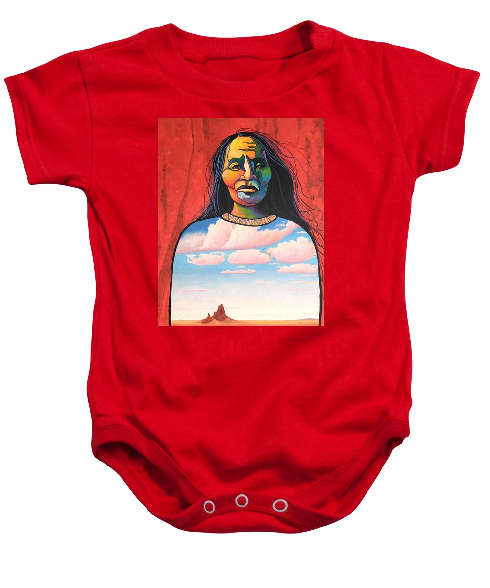 Native American Baby Onesie featuring the painting Into Her Spirit by Joe Triano
