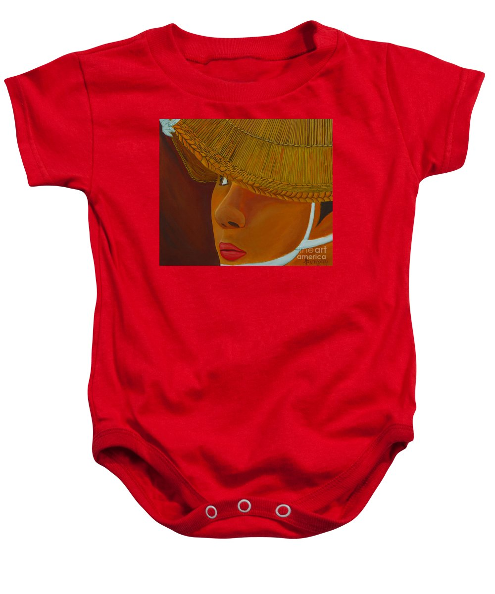 Japan Baby Onesie featuring the painting Japanese Bonadori Dancer by Anthony Dunphy