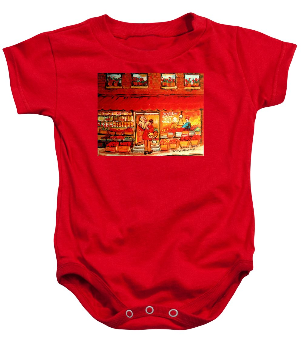Warshaw's Fruit Market Baby Onesie featuring the painting Jewish Culture In Montreal Paintings Of Warshaw's Fruit Store On St.lawrence Street Scene Art by Carole Spandau
