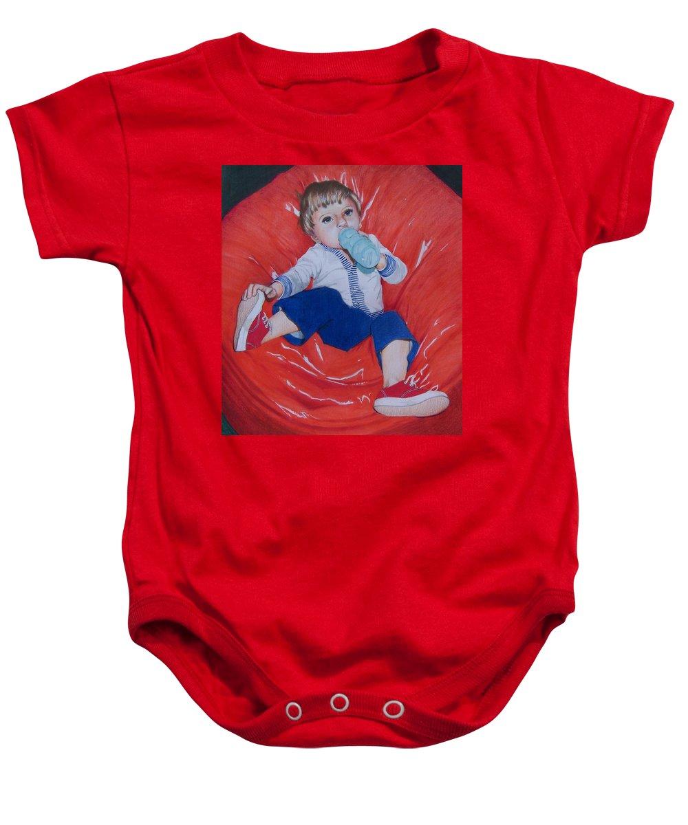 Boy Baby Onesie featuring the mixed media Joey by Constance Drescher