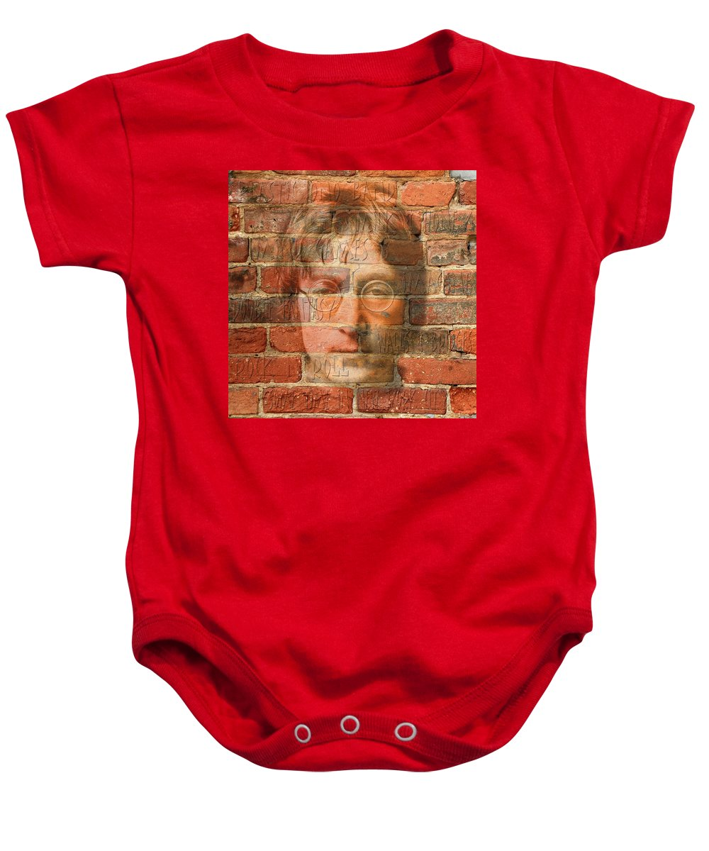 Lennon Baby Onesie featuring the photograph John Lennon 2 by Andrew Fare
