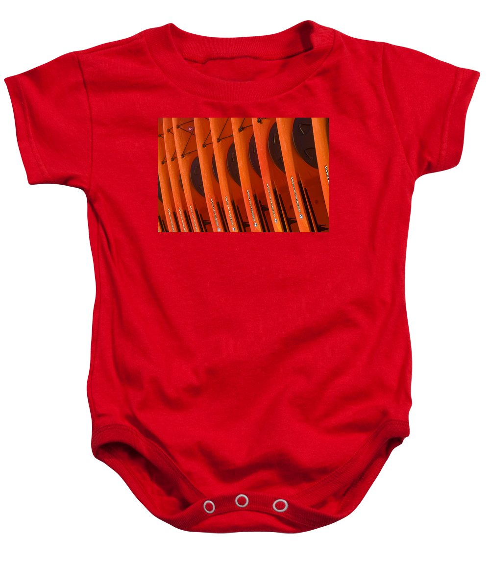 Kayaks Baby Onesie featuring the photograph Kayaks No. 3 by John Greco