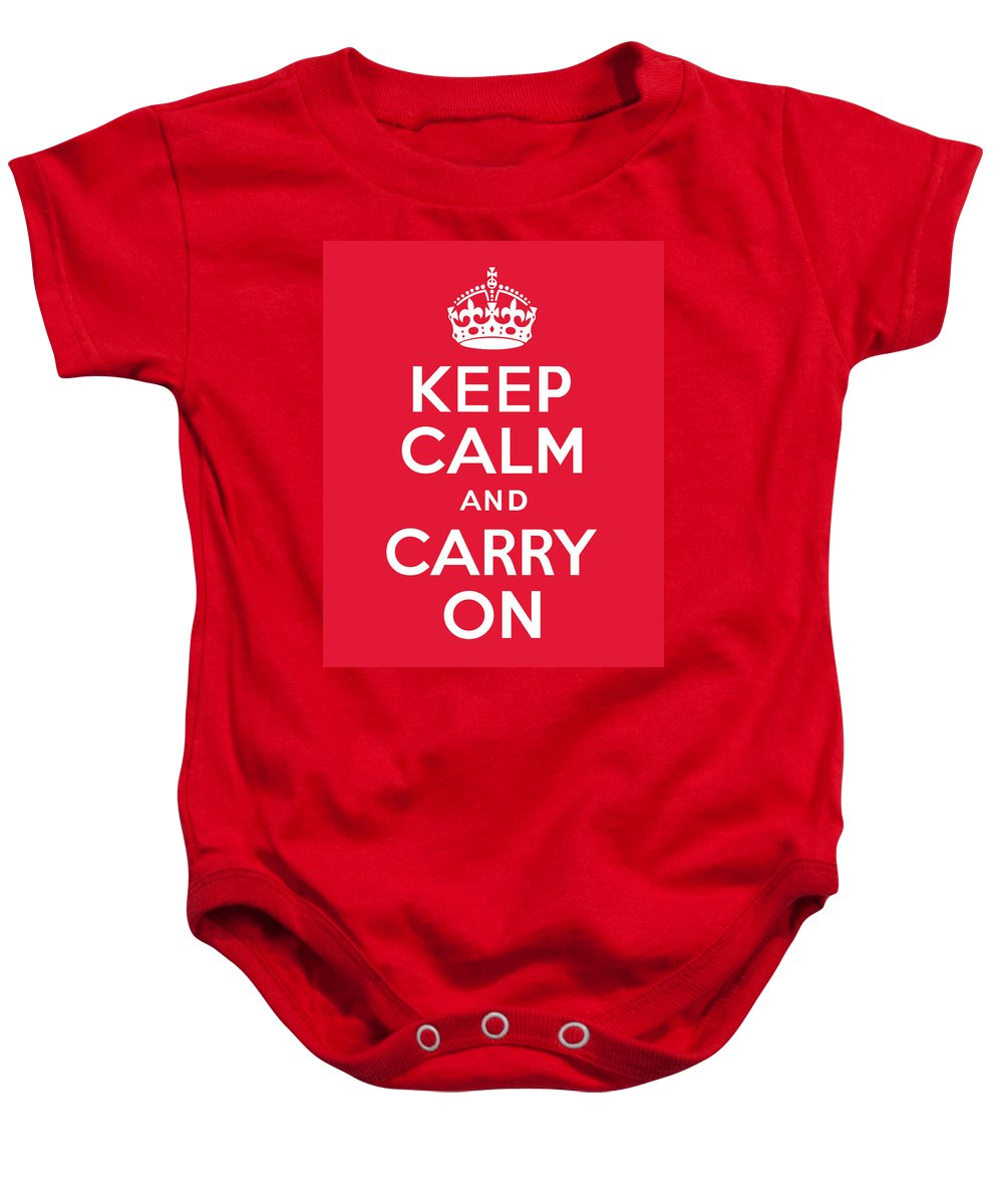 Keep Calm Baby Onesie featuring the digital art Keep Calm And Carry On by Kristin Vorderstrasse