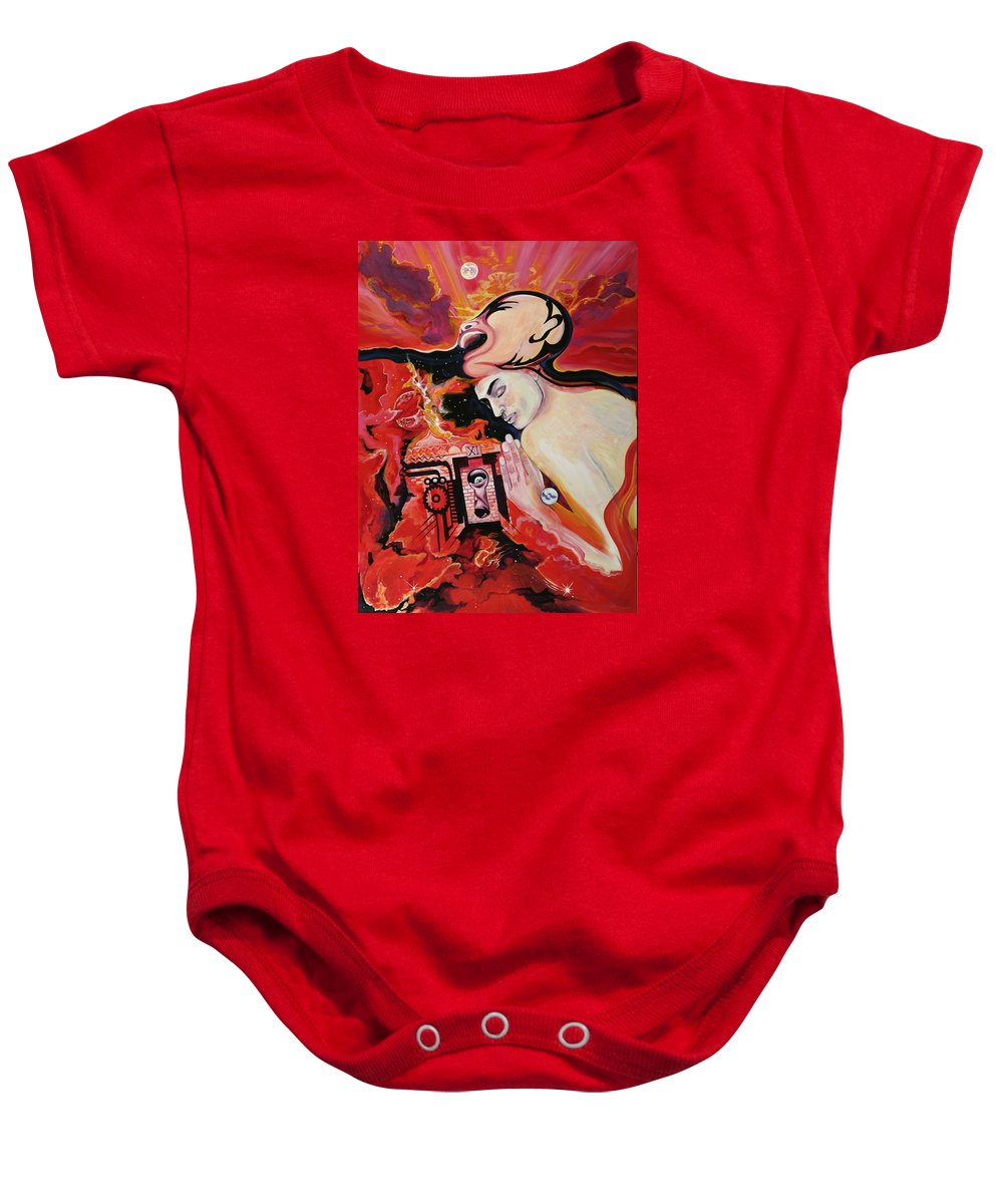 Passion Baby Onesie featuring the painting Keyhole by Yelena Tylkina