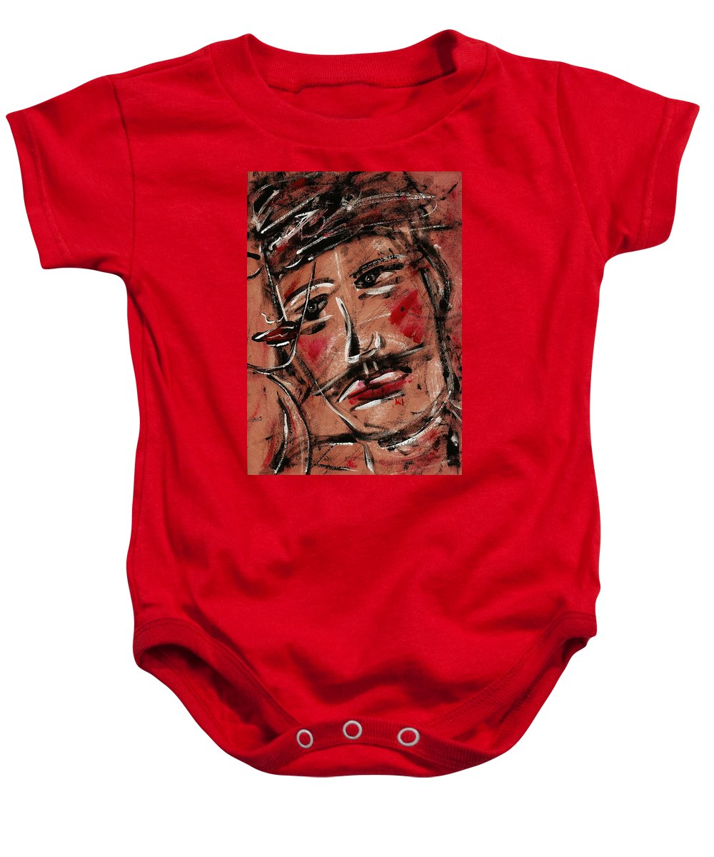 Faces Baby Onesie featuring the painting Kind Man by Natalie Holland
