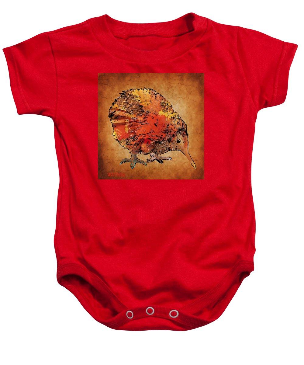 Kiwi Prints Baby Onesie featuring the digital art Kiwi Bird by Marlene Watson