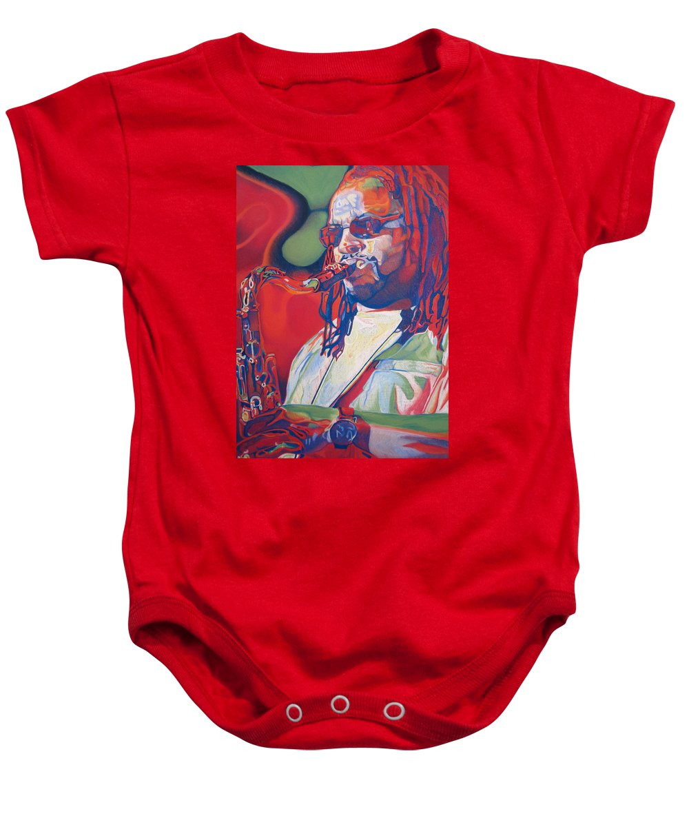 Leroi Moore Baby Onesie featuring the drawing Leroi Moore Colorful Full Band Series by Joshua Morton