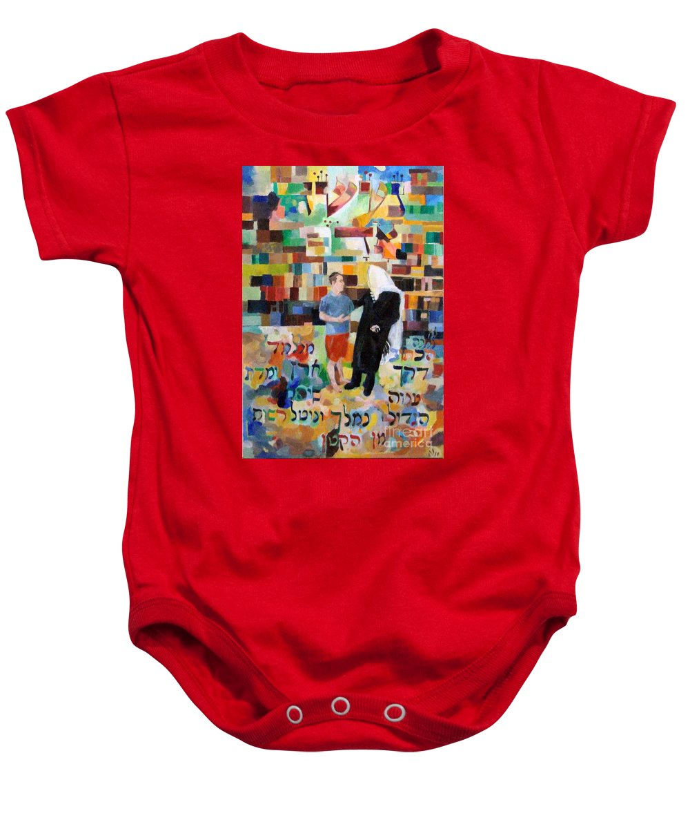 Baby Onesie featuring the painting Let Us Make Man by David Baruch Wolk