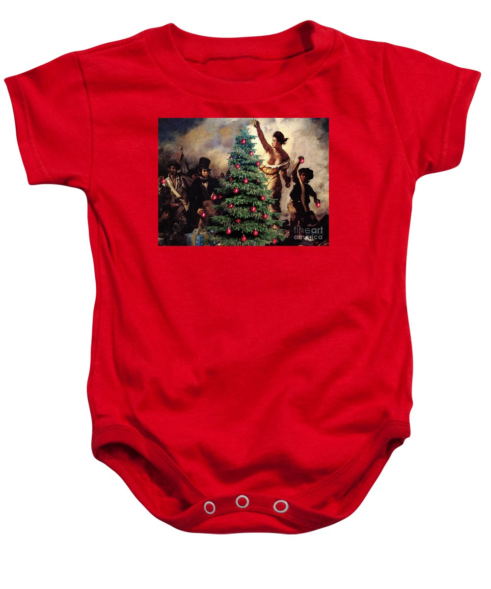 Canvas Prints Baby Onesie featuring the digital art Liberty Places Star On The Tree by Joseph Juvenal