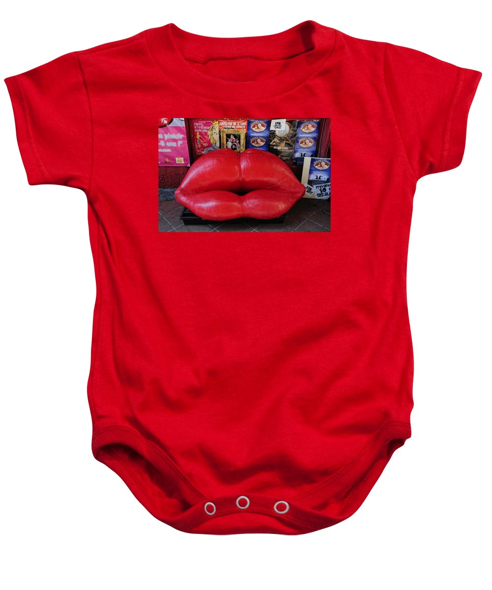 Lips Couch Baby Onesie featuring the photograph Lips Couch by Dave Mills