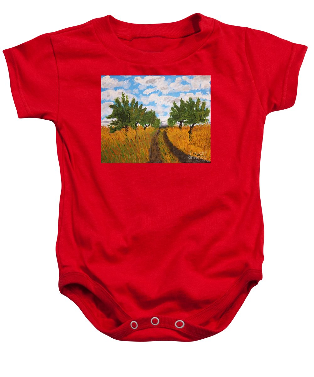 Lonely Baby Onesie featuring the painting Lonely Road by Vicki Maheu
