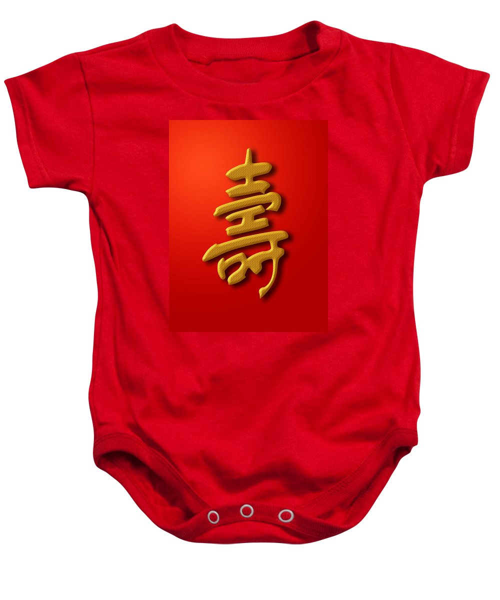Longevity Baby Onesie featuring the photograph Longevity Chinese Calligraphy Gold On Red Background by David Gn