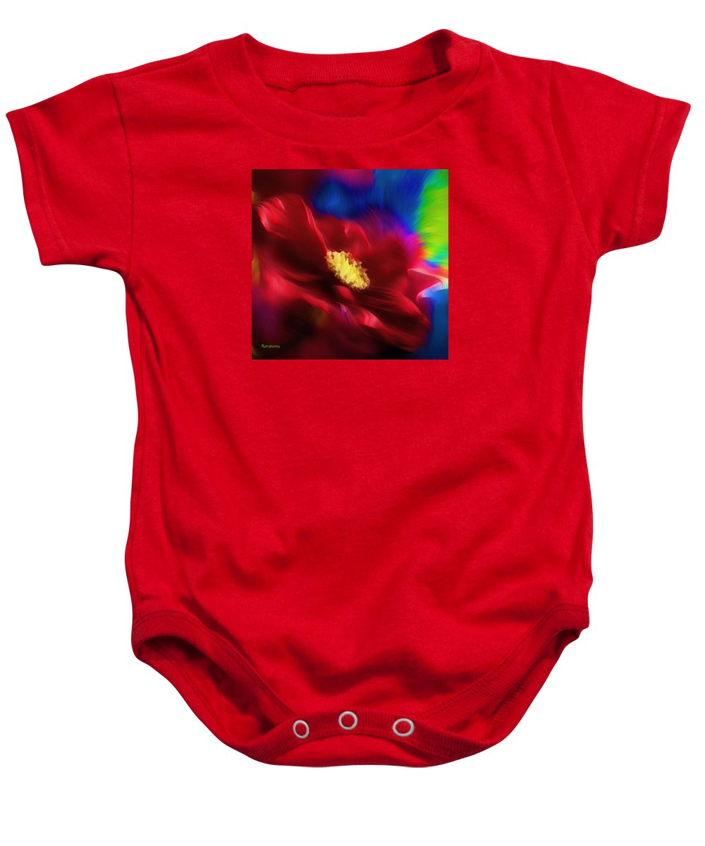 Abstract Baby Onesie featuring the painting Magical Rose by Georgiana Romanovna