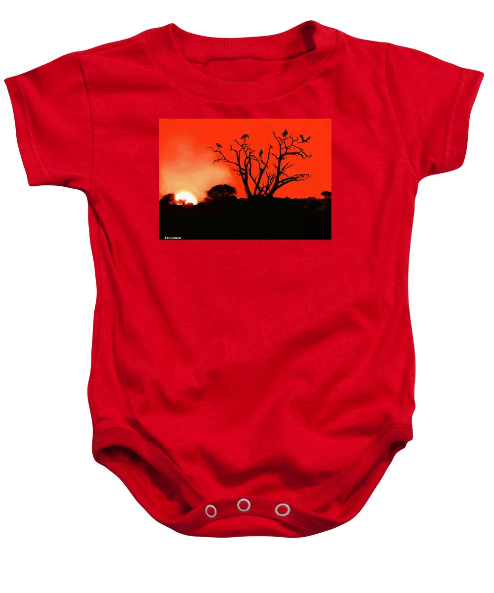 Landscape Baby Onesie featuring the painting Marabou Tree by Scott Bowlinger