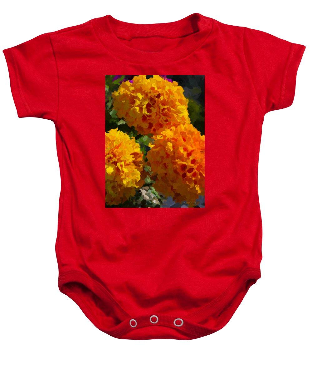 Marigold Baby Onesie featuring the digital art Marigold Mops by Jo-Anne Gazo-McKim