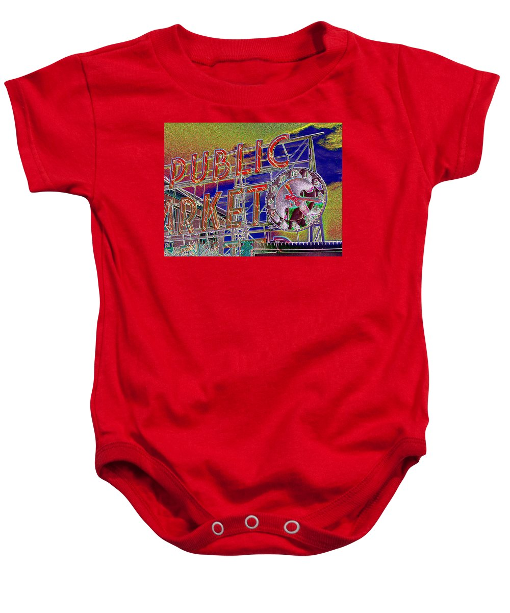 Seattle Baby Onesie featuring the digital art Market Clock 1 by Tim Allen