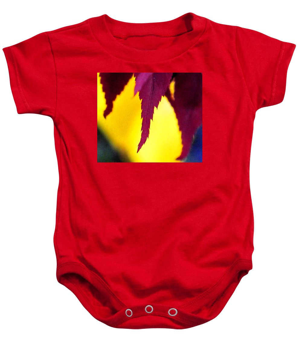 Maroon Baby Onesie featuring the photograph Maroon And Yellow by Ian MacDonald