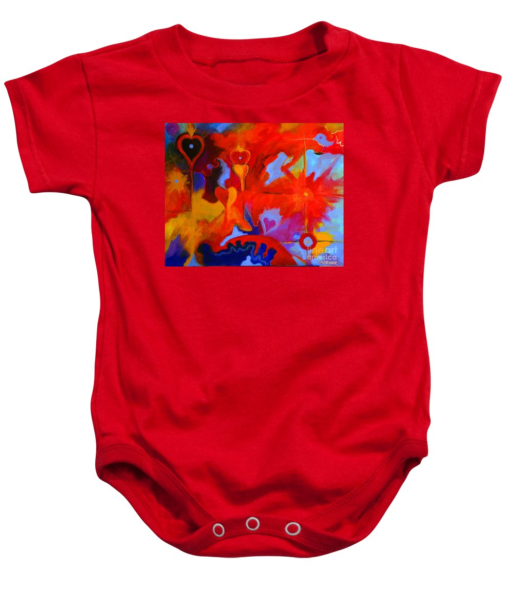 Abstract Baby Onesie featuring the painting Message Of Love by Alison Caltrider