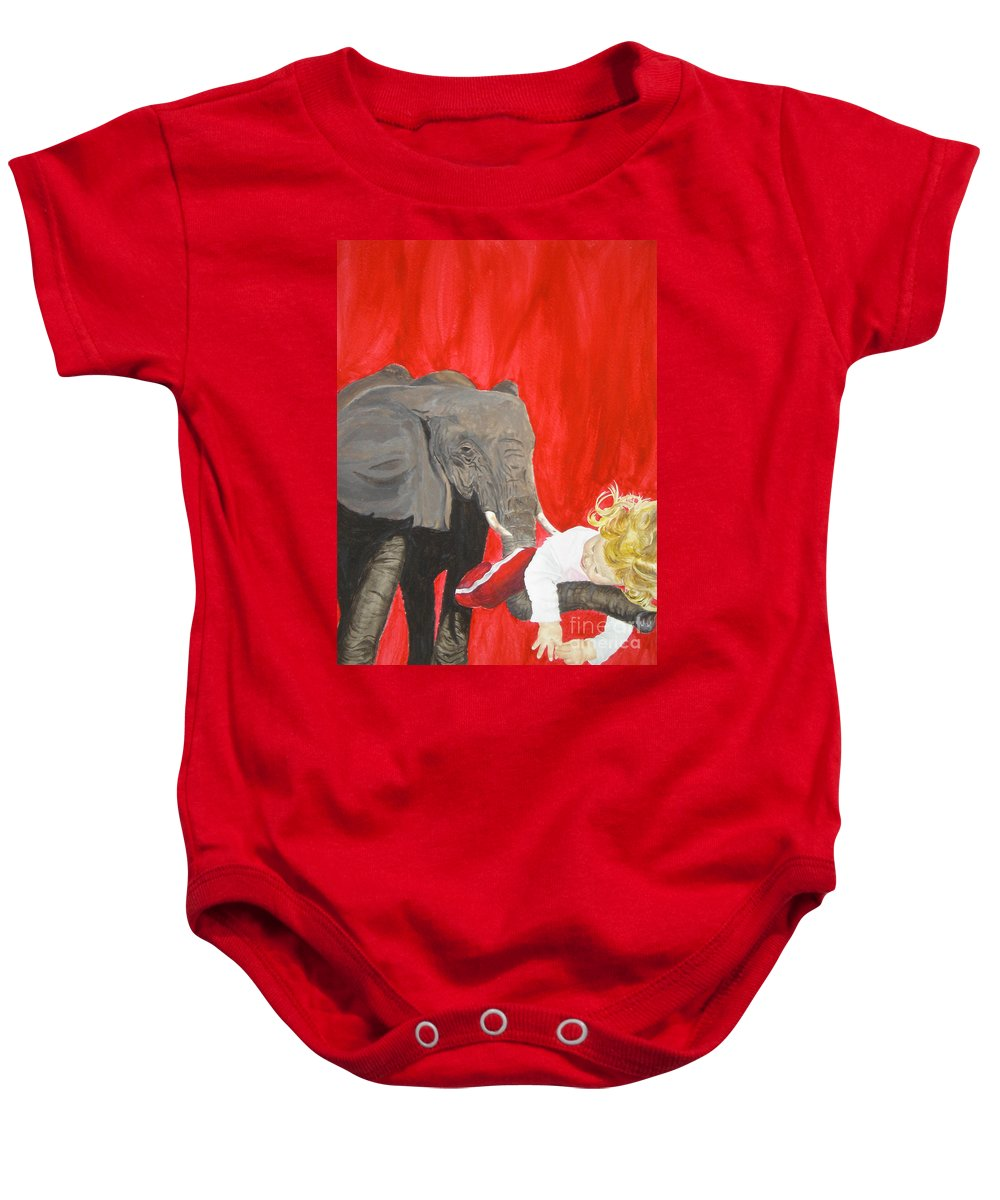 Elephant Baby Onesie featuring the painting Mika And Elephant by Tamir Barkan