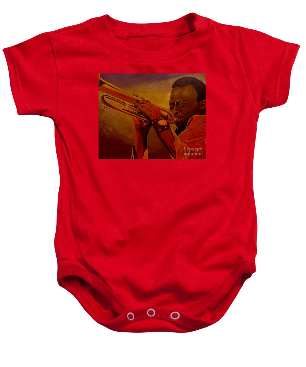 Miles Davis Baby Onesie featuring the painting Miles Davis by Anthony Dunphy