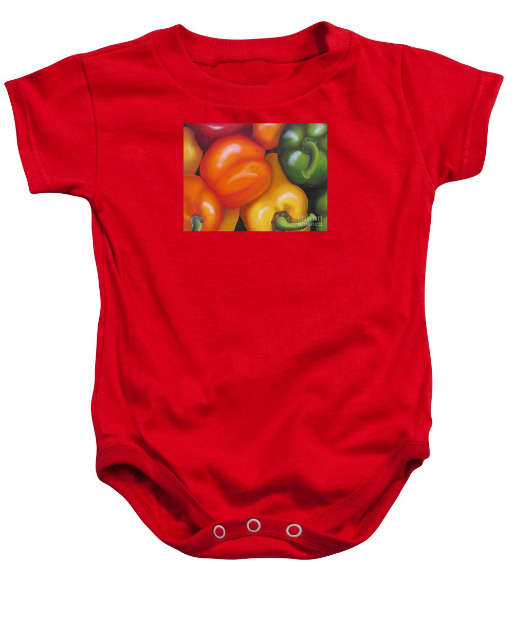 Oil Painting Baby Onesie featuring the painting More Peppers by Marilyn Healey