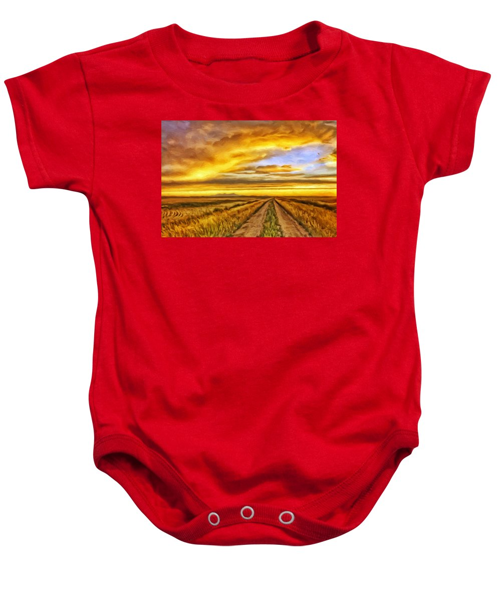 Ranch Baby Onesie featuring the painting Morning Sunrise by Michael Pickett