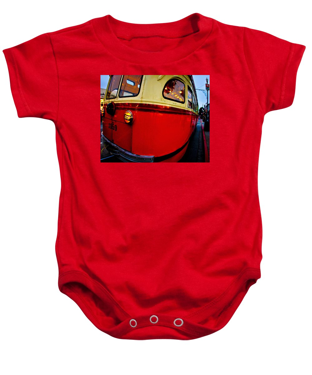 Streets Of San Francisco Baby Onesie featuring the photograph San Francisco Streetcar by Digital Kulprits