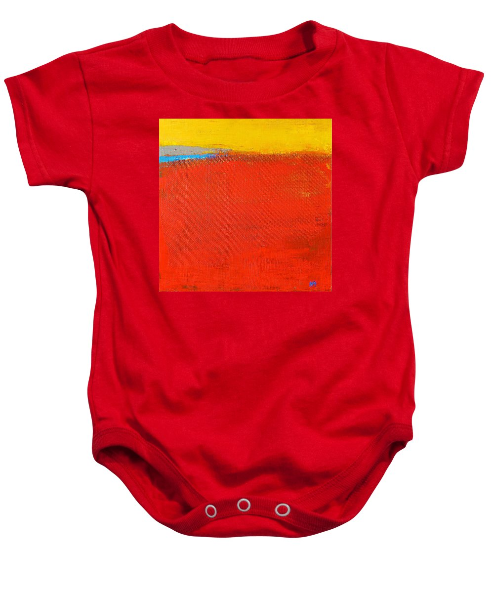 Landscape Baby Onesie featuring the painting Nature Rouge by Habib Ayat