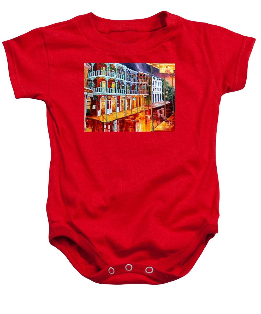 New Orleans Baby Onesie featuring the painting New Orleans Reflections In Red by Diane Millsap