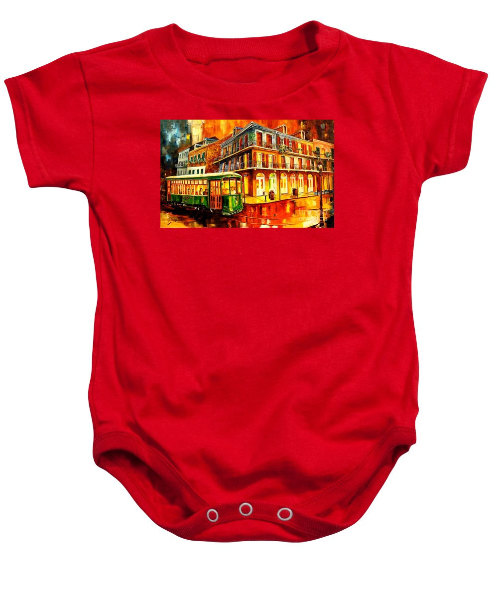 New Orleans Baby Onesie featuring the painting New Orleans Streetcar by Diane Millsap