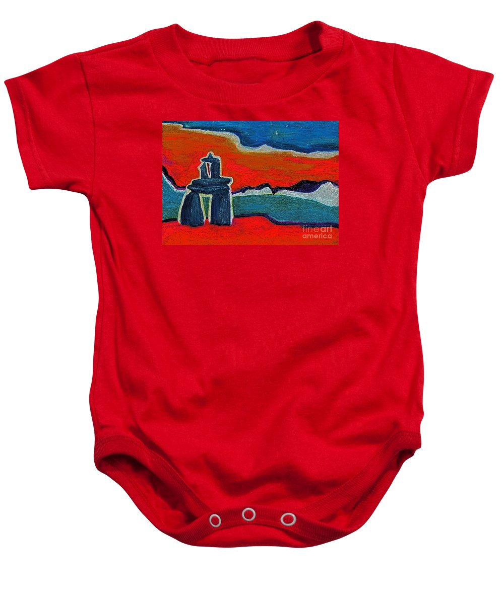Inukshuk Baby Onesie featuring the painting North Story Inukshuk By Jrr by First Star Art