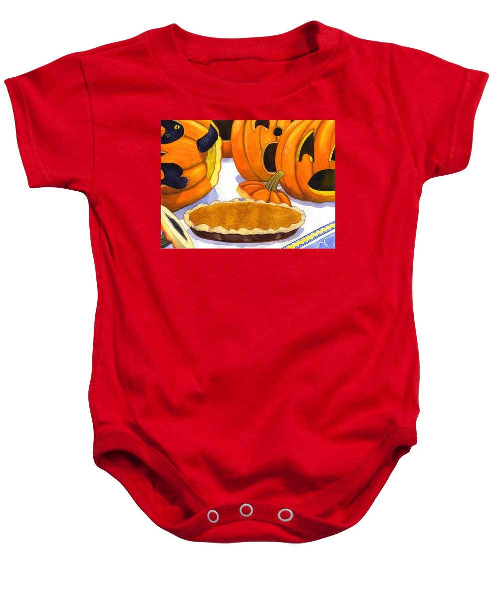 Halloween Baby Onesie featuring the painting Oh No Is That Jack by Catherine G McElroy