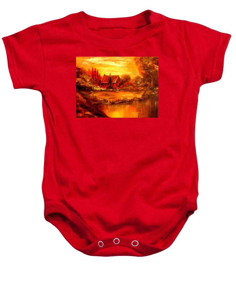 Barn Baby Onesie featuring the painting Old Dutch Farm by Jeff Troeltzsch