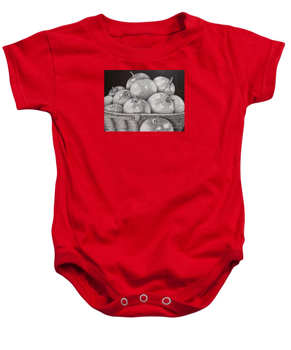Ink Baby Onesie featuring the painting One Shy Of A Dozen by Marilyn Healey