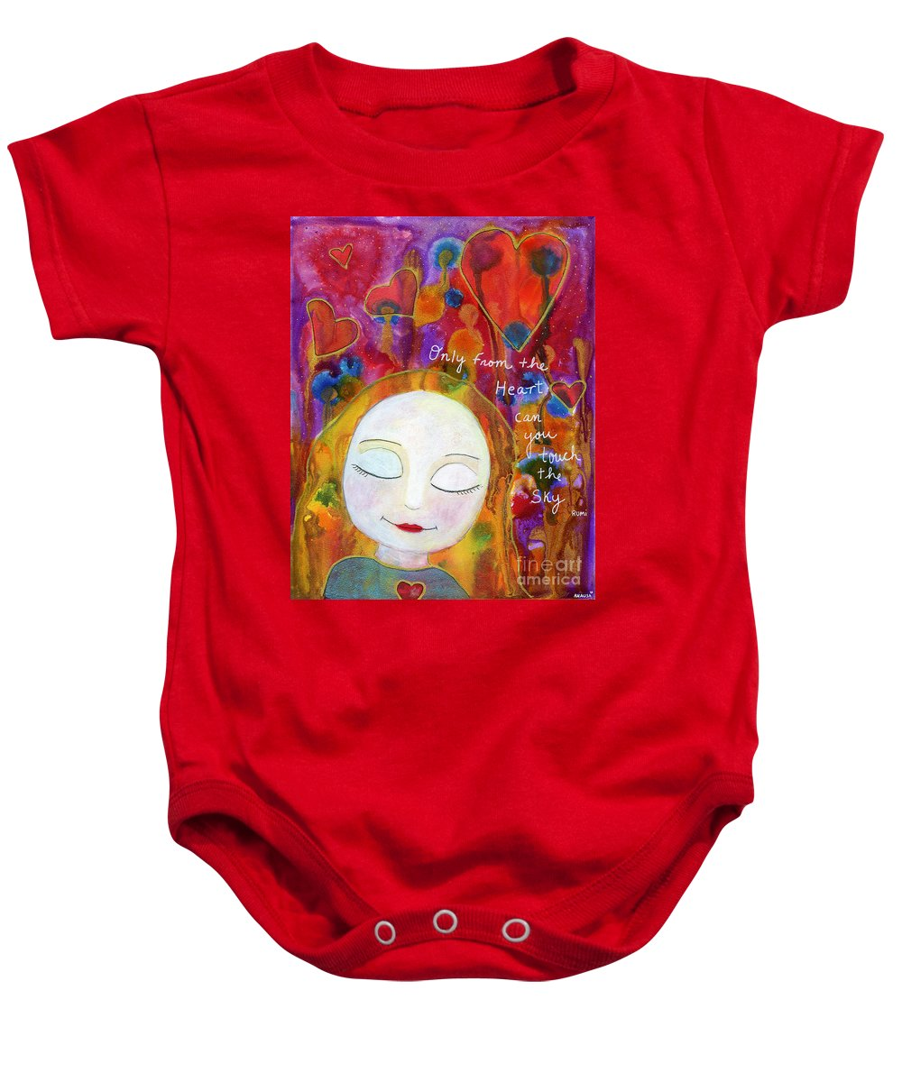 Hearts Baby Onesie featuring the painting Only From The Heart by AnaLisa Rutstein