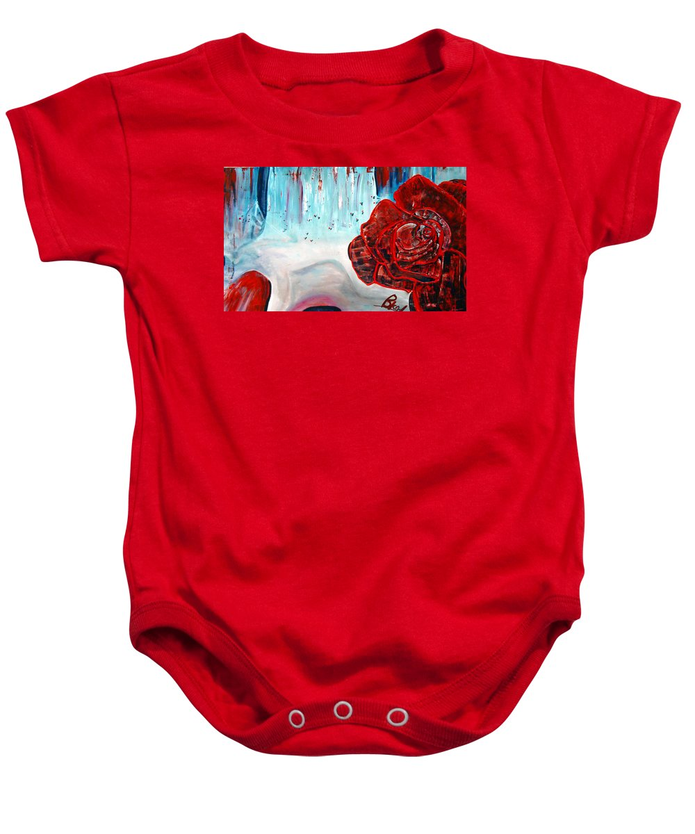 Landscape Baby Onesie featuring the painting Op And Rose by Peggy Blood