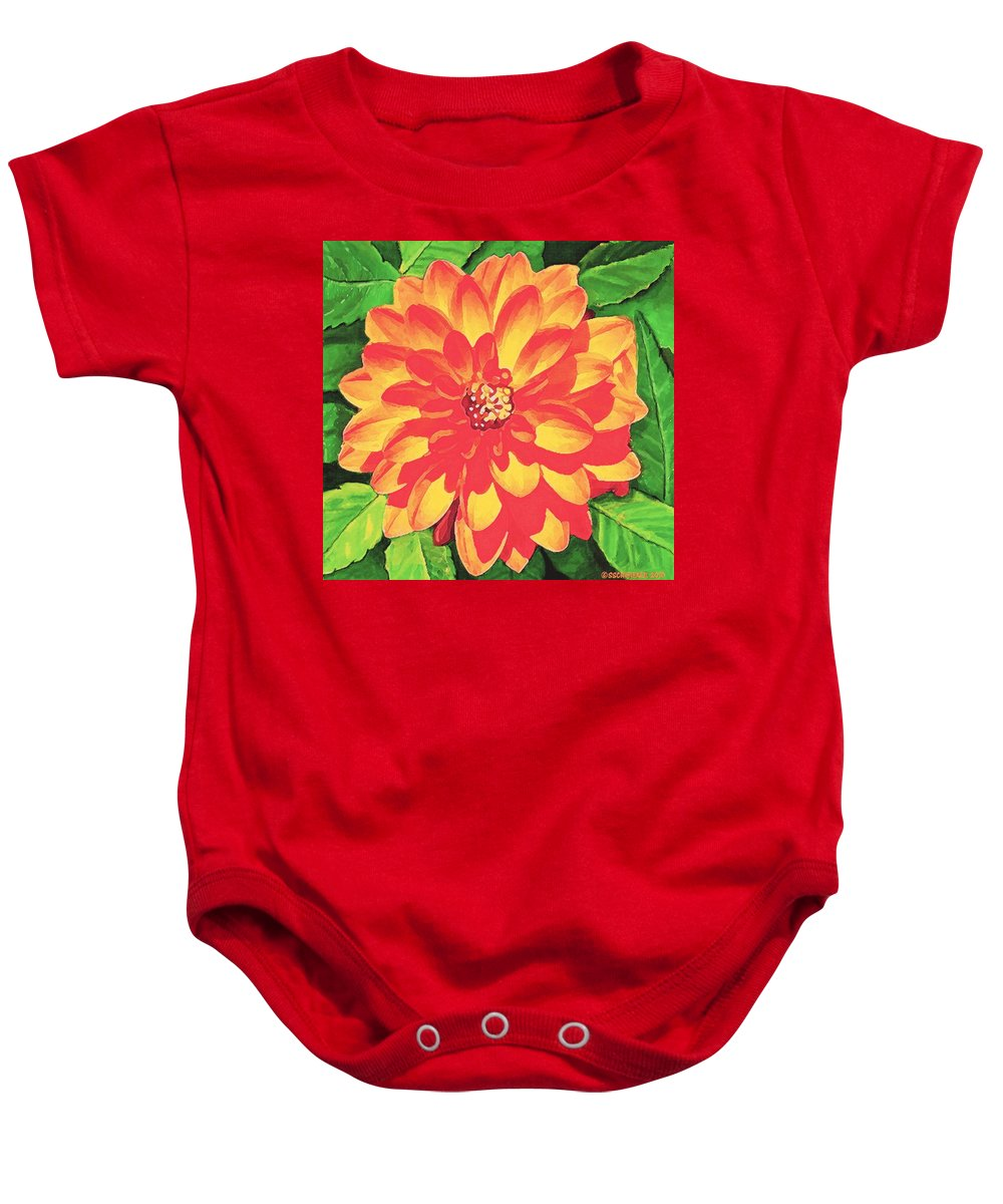 Dahlia Baby Onesie featuring the painting Orange Dahlia by Sophia Schmierer