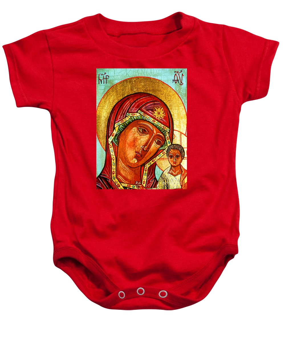 Mother Mary Baby Onesie featuring the painting Our Lady Of Kazan by Ryszard Sleczka