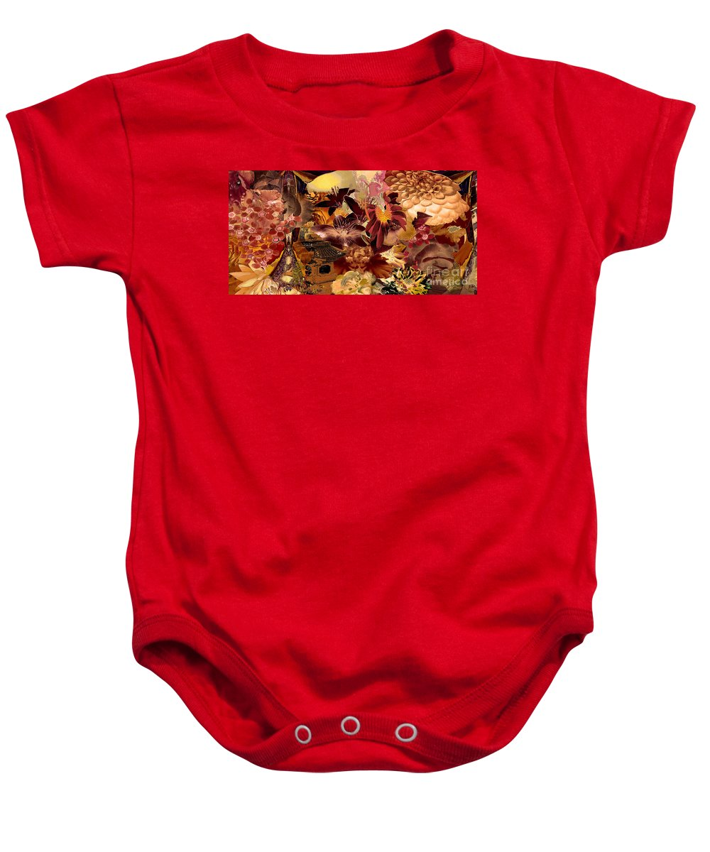 Pagoda Baby Onesie featuring the digital art Pagoda by Paul Gentille
