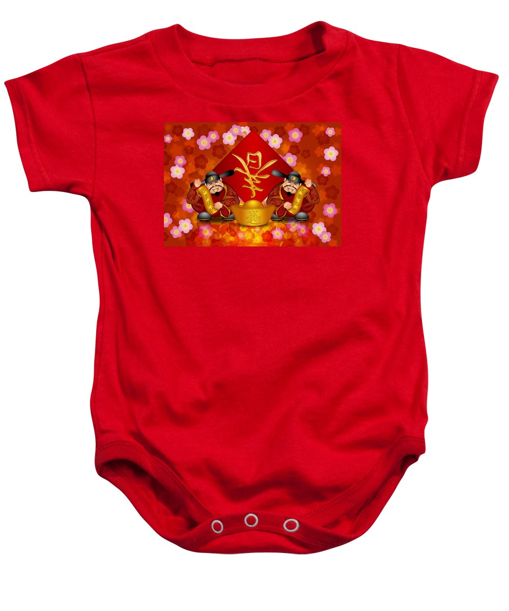 2012 Baby Onesie featuring the digital art Pair Chinese Money God Banner Welcoming Spring New Year by Jit Lim