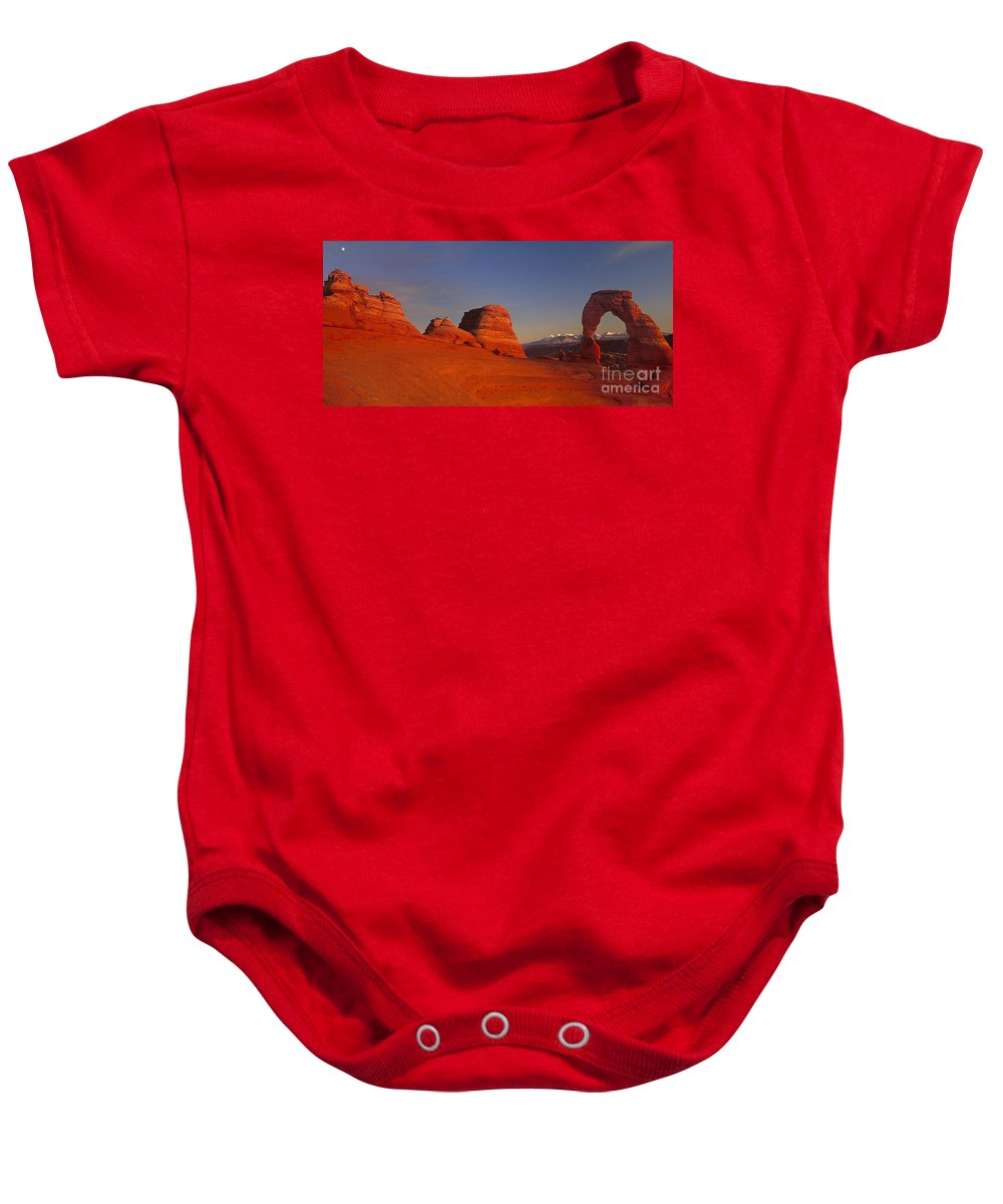 America Baby Onesie featuring the photograph Panorama Moonrise Over Delicate Arch Arches National Park Utah by Dave Welling