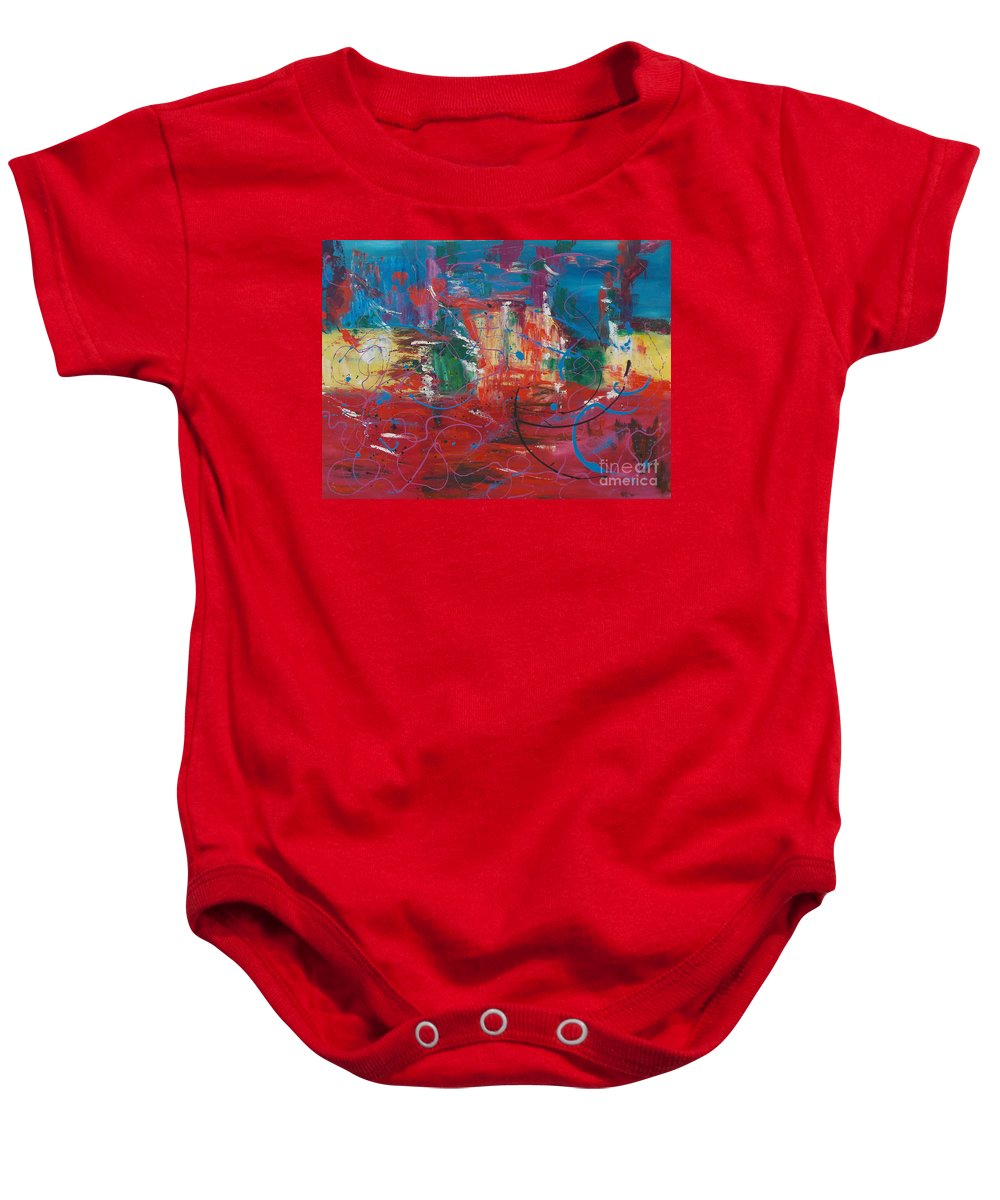 Abstract Baby Onesie featuring the painting Peace In Chaos by To-Tam Gerwe