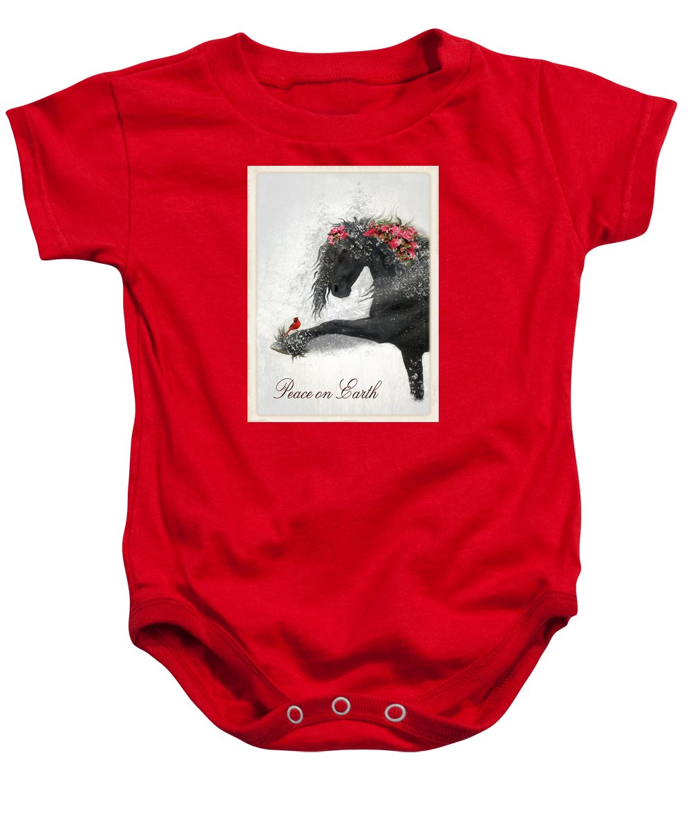 Friesian Holiday Baby Onesie featuring the digital art Peace On Earth by Fran J Scott