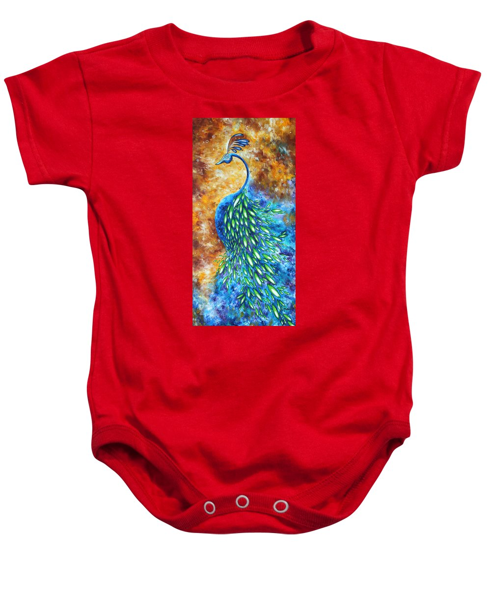 Peacock Baby Onesie featuring the painting Peacock Abstract Bird Original Painting In Bloom By Madart by Megan Duncanson